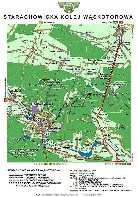 mapa Starachowickiej Kolei Wąskotorowej